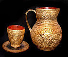 Burmese Lacquered Gilded Pitcher Cup & Saucer Set - 19th Century