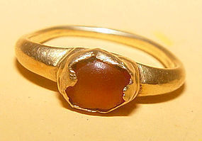 Ancient Gold Ring with Natural Brown Stone