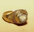 Ancient Cabochon Quartz Crystal Gold Ring