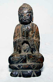 Rare Ming Chinese Lacquered Wooden Buddha - 1368 - 1644 AD