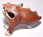 Rare Han Amber Glazed Three Legged Mythical Beast - 25 - 250 AD