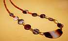 Ancient Agate Bead Necklace with Ancient Gold - 100BC