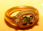 Ancient Gold Ring with a Green Stone - Angkor Wat Period 1113�1150 AD