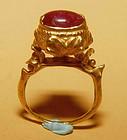 Rare Ancient Pyu Gold Ruby Ring  100 - 500 AD