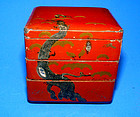 Chinese Red Lacquered Three Tiered Box - Qing