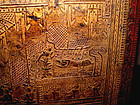 Burmese Gold Leaf Temple Teak Scripture Chest - 19 Century.