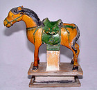 Chinese Sancai Glazed Ming Horse w/Saddle - 15th C.