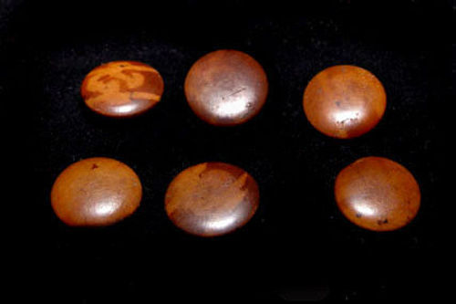 6 Chinese Burlwood Buttons - Qing Dynasty 19th Century