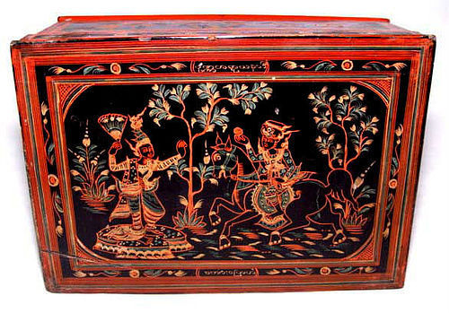 Burmese Lacqured Table Chest - Late 19th Century