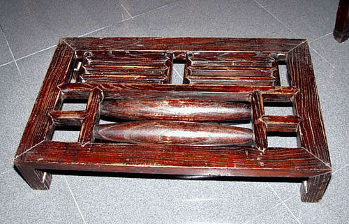 Chinese Elmwood Footrest Massager - Qing 19th Century
