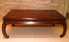 Large Antique Chinese Blackwood Day Bed or Low Table with Curve Legs