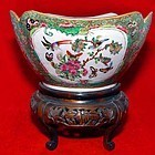 Rare Chinese Canton Ware Bowl with Custom Stand