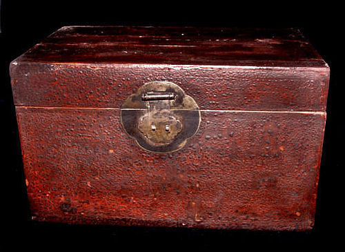 Chinese Leather Overlay Table Top Chest #3 - 19th Century
