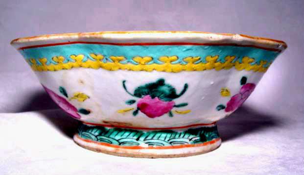 Chinese Nyonya Ware Bowl with Peaches - 19th C.
