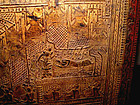 Rare Burmese Gilded Relief Scripture Teak Chest - 19 C.