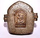 "Tibetan Silver Portable Prayer Box ""Gau"" - 19th Century"