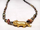 Gold Tiger Necklace with Assorted Pyu Beads 100 - 500AD