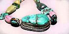 Rear Turquoise Tibetan Necklace - 19th Century