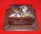 Japanese Cloisonne Box with Phoenix and Tray Signed -19 Century