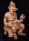 Large Rare Statue of Garuda Holding Naga 19th Century