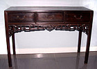 Rare Chinese Three Drawer Blackwood Hongmu Table-19th Century