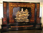 Very Rare Large Chinese Quanyin Lacquer Panel Screen  - 19th Century