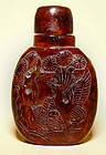 Chinese Amber Snuff Bottle w/Phoenix,Bat & Holy Man