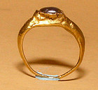 Ancient Gold Ring with a Blue Gray (Sapphire) Stone