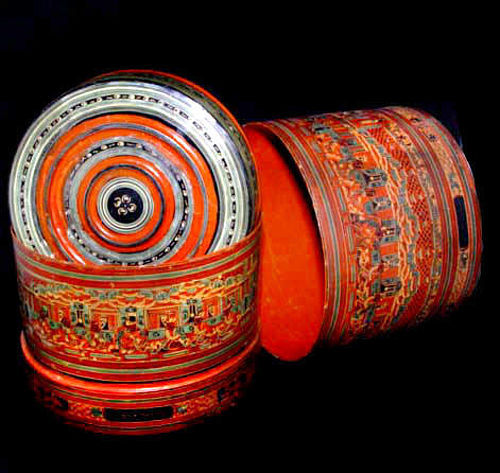 Large Burmese Yun Lacquered Betel Box #002