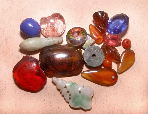 Old Assortment of Chinese Plastic and Stone Beads