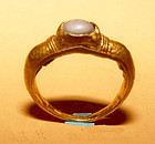Ancient Cabochon Quartz Crystal Gold Ring - 1,000 AD