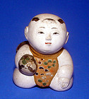 Japanese Gosho Ningyo Boy Doll with Hyotan Gourd – Early 1800s