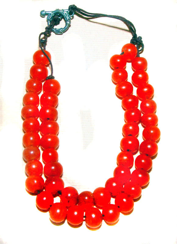 Chinese Red Glass Bead Choker Necklace - Middle Qing