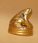 Ancient Pyu Solid Gold Frog Pendant 100 - 500 AD