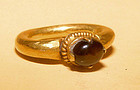 Ancient Gold Ring with a Golden Brown Tone Stone - 12th Century