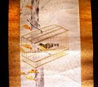 Chinese Scroll Painting of a Bird in a Cage -19th Century