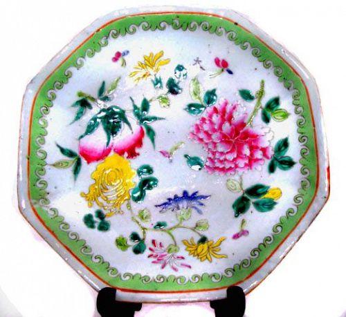 Chinese Nyonya Ware Plate with Good Luck Symbols - 19th Century