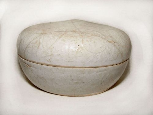 Large.Chinese Song White Ware Dehua Round Box - 10 Century.