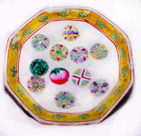 Chinese Nyonya Plate with Peach & Buddha Symbols - 19th Century