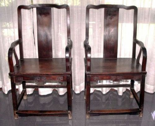 Rare Pair Chinese Ironwood Tieli mu Chairs -  Mid Qing 18th Century