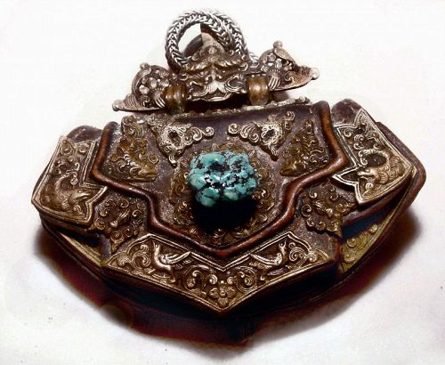 Tibetan Leather Lady's Purse with Silver Chain and Workings #5