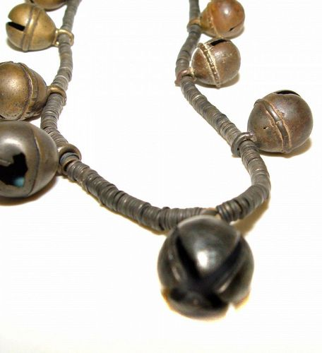 Unusual Old Chinese Metal Bell Necklace