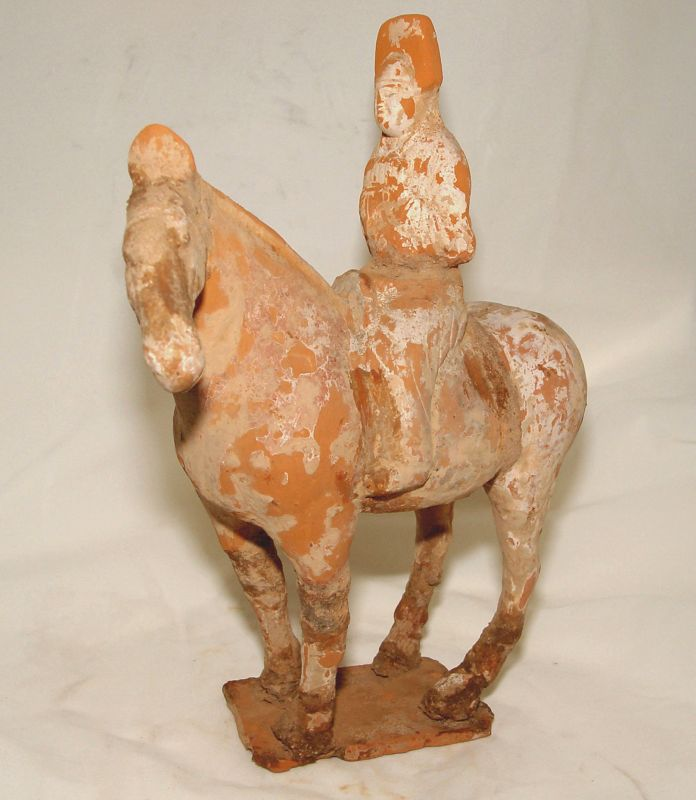 Chinese Pottery of aTang Horse an Rider with Musical Instrument