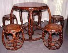 Rare Chinese Jichimu (Chicken Wing) Drum Table and 5 Stools - 19C.