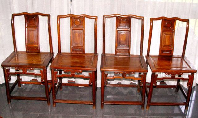 Set of Four Chinese Blackwood Hungmu Lady's Side Chairs - Qing