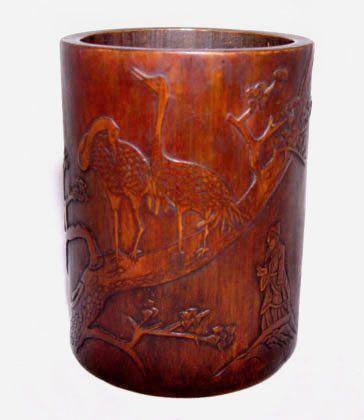 Chinese Bamboo Brush Pot Holder w/Cranes & Sage-19th C.