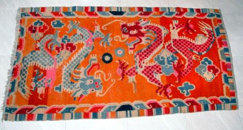 Large Tibetan Dragon Temple Carpet - 19th Century