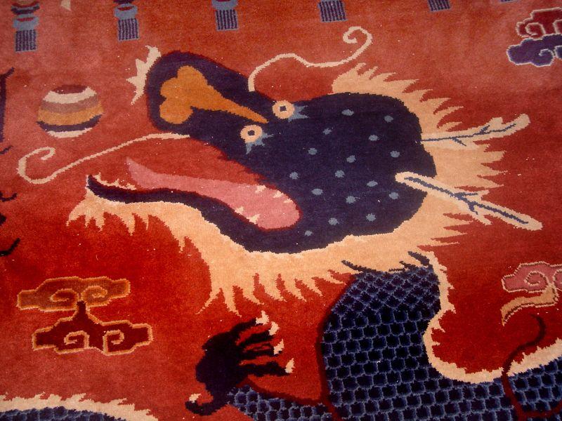 Very Large Rare Tibetian DragonTemple Pillar Carpet