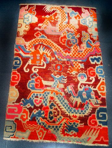 Tibetan Temple Prayer Carpet with two Dragons. 19th Century