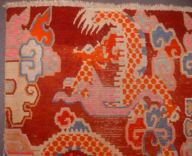 Tibetan Temple Prayer Carpet with two Dragons. 19th Century
